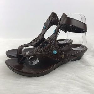 Frye Brown Leather Boho Sandals Ankle Strap 8.5